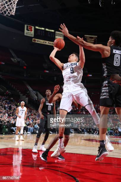 Michael Porter Jr #9 of the USA Junior Select Team shoots against the World Select Team during the game on April 7 2017 at the MODA Center Arena in...