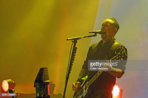 Michael Poulsen of Volbeat performing live during the first day of the Wacken Open Air festival on August 3 2017 in Wacken Germany