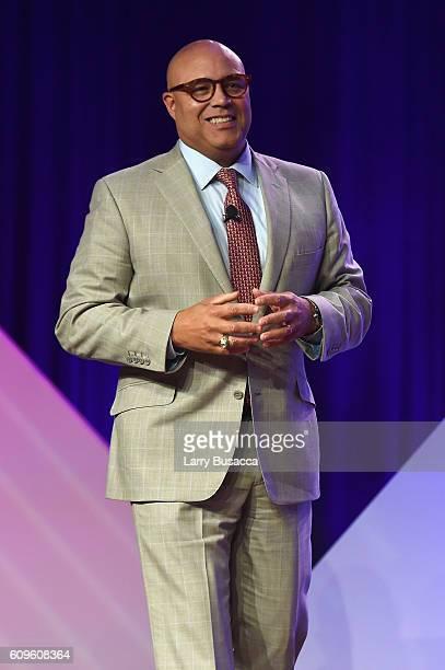 Michael Powell President and CEO of National Cable Telecommunications Association speaks onstage at the 33rd Annual Kaitz Foundation Fundraising...