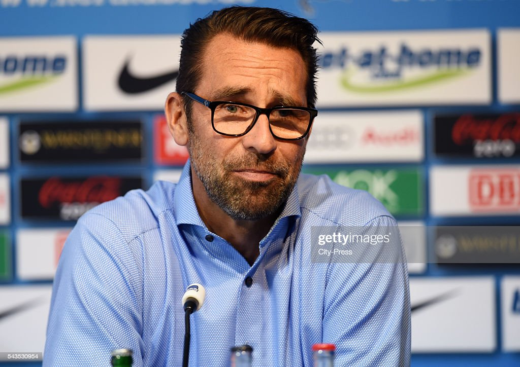 CEO <a gi-track='captionPersonalityLinkClicked' href=/galleries/search?phrase=Michael+Preetz&family=editorial&specificpeople=695093 ng-click='$event.stopPropagation()'>Michael Preetz</a> of Hertha BSC during the press conference on june 29, 2016 in Berlin, Germany.