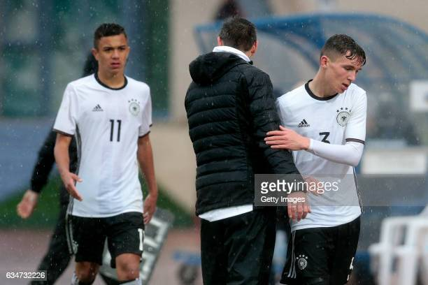 Michael Prus and Oscar Schönfelder during the UEFA Development Tournament Match between Germany U16 and France U16 on February 11 2017 in Vila Real...