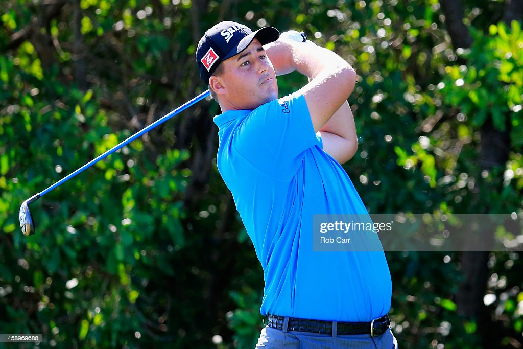 Michael Putnam of the United States hits a tee shot on the 17th hole during the second round of the OHL Classic at Mayakoba on November 14, 2014 in Playa del Carmen, Mexico.