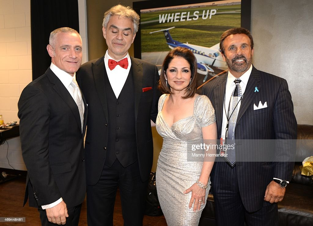 Michael R. Yormark, <a gi-track='captionPersonalityLinkClicked' href=/galleries/search?phrase=Andrea+Bocelli&family=editorial&specificpeople=211558 ng-click='$event.stopPropagation()'>Andrea Bocelli</a>, <a gi-track='captionPersonalityLinkClicked' href=/galleries/search?phrase=Gloria+Estefan&family=editorial&specificpeople=201703 ng-click='$event.stopPropagation()'>Gloria Estefan</a> and Frank G. Russo backstage at BB&T Center on February 14, 2014 in Sunrise, Florida.