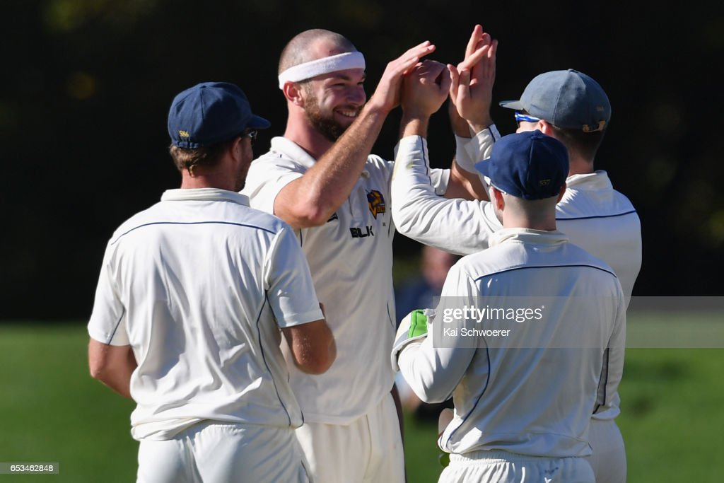 Michael Rae of Otago is congratulated by team mates after dismissing Andrew Ellis of Canterbury during the Plunket Shield match between Canterbury and Otago on March 15, 2017 in Christchurch, New Zealand.