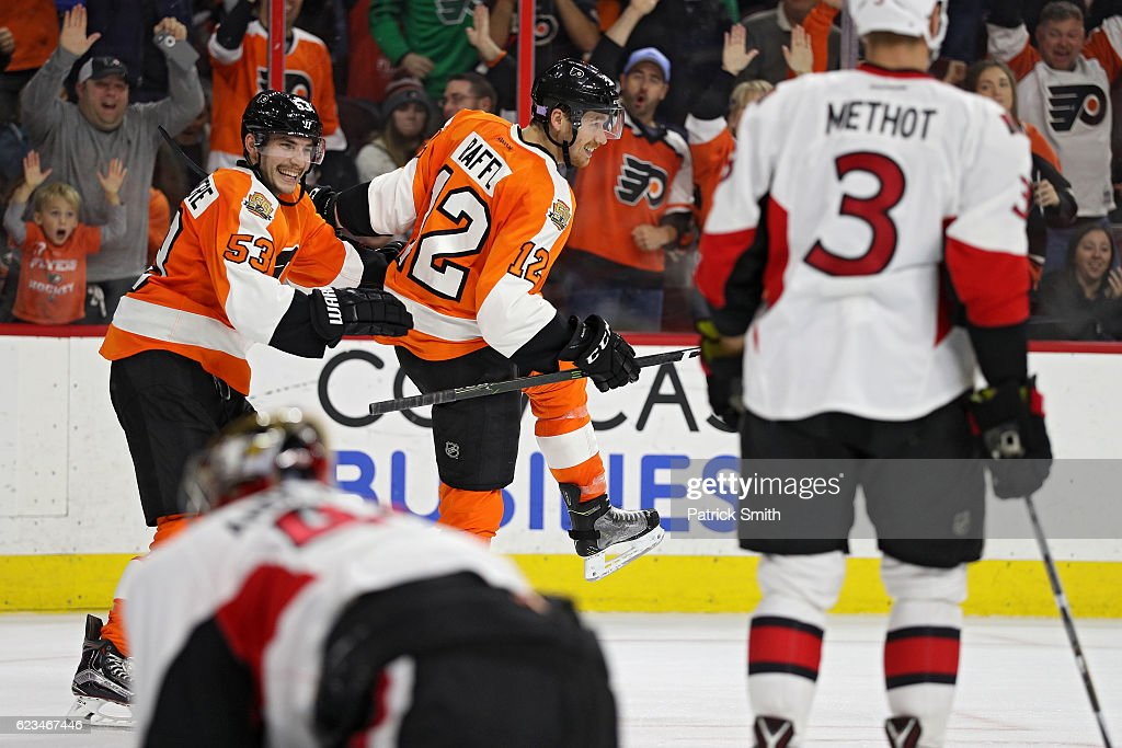 Michael Raffl #12 of the Philadelphia Flyers celebrates after scoring a goal with teammates Shayne Gostisbehere #53 against the Ottawa Senators during the second period at Wells Fargo Center on November 15, 2016 in Philadelphia, Pennsylvania.