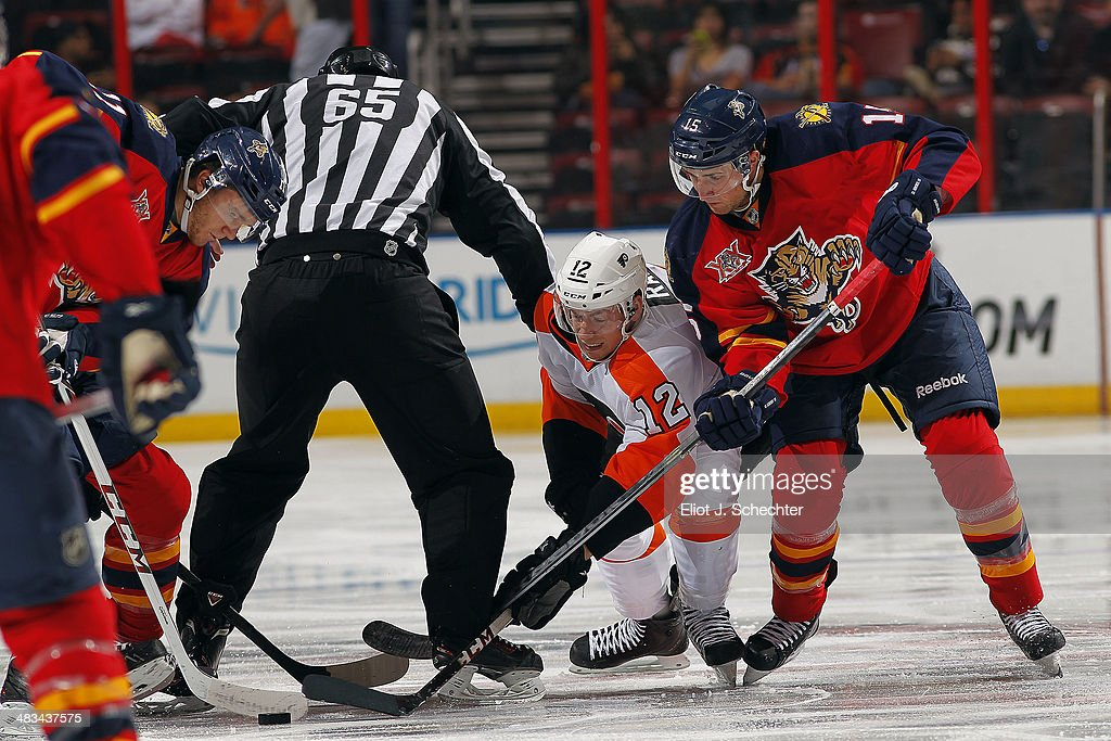 Michael Raffl #12 of the Philadelphia Flyers faces off against Drew Shore #15 of the Florida Panthers at the BB&T Center on April 8, 2014 in Sunrise, Florida.
