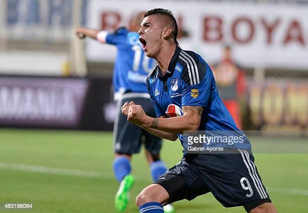 Michael Rangel of Millonarios celebrates a goal during a match between Patriotas FC and Millonarios as part of Liga Aguila II 2015 at Metropolitano...