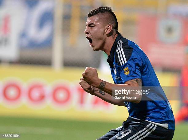 Michael Rangel of Millonarios celebrates a goal during a match between Patriotas FC and Millonarios as part of Liga Aguila II 2015 at Metropolitano...