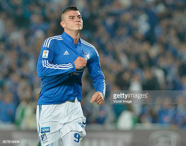 Michael Rangel of Millonarios celebrates after scoring a goal during a match between Millonarios and Patriotas FC as part of the Aguila League I 2016...