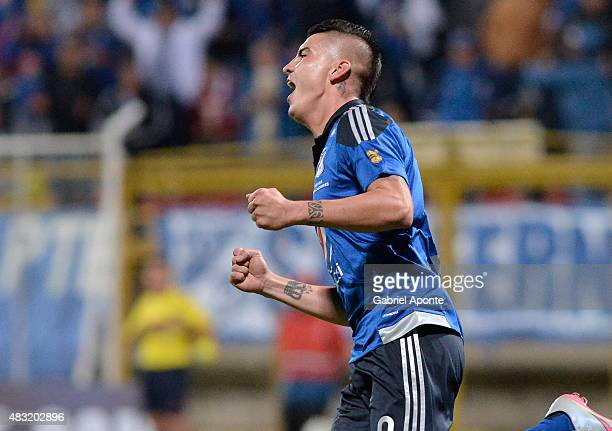 Michael Rangel of Millonarios celebrates his third goal during a match between Patriotas FC and Millonarios as part of Liga Aguila II 2015 at...