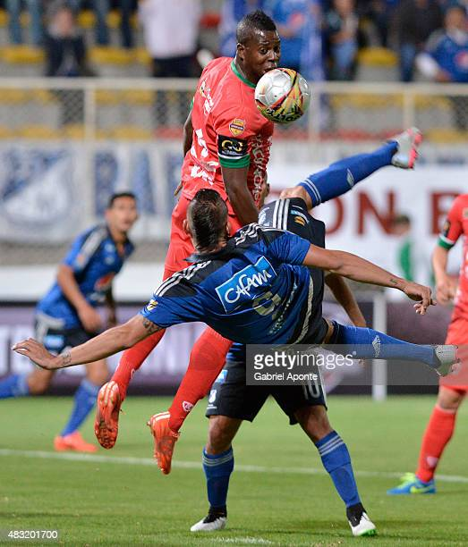 Michael Rangel of Millonarios shoots to score the second goal of his team during a match between Patriotas FC and Millonarios as part of Liga Aguila...