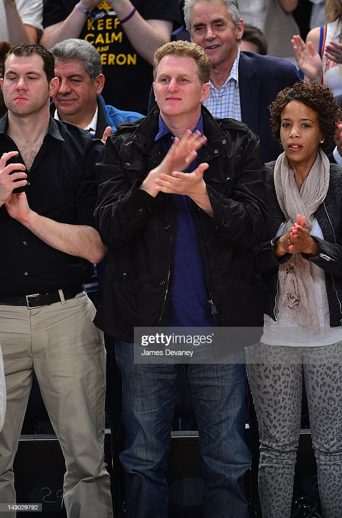 Michael Rapaport attends the New York Knicks vs Boston Celtics basketball game at Madison Square Garden on April 17, 2012 in New York City.