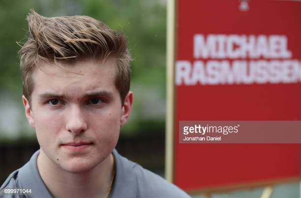 Michael Rasmussen talks with media members during the 2017 NHL Draft top prospects media availabilty on the Bright Star Boat on the Chicago River on...