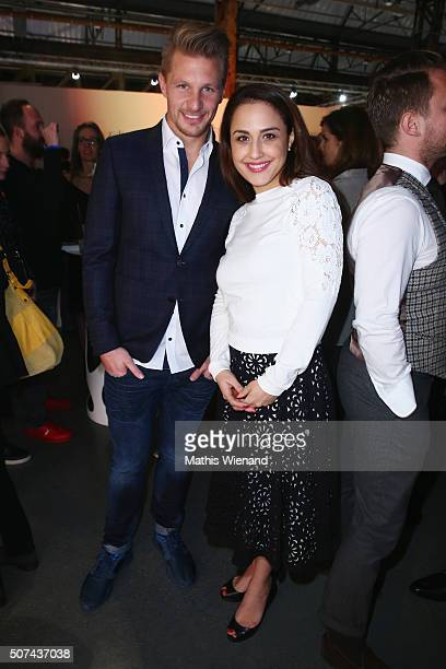 Michael Ratajczak and Nina Moghaddam attend the Breuninger show during Platform Fashion January 2016 at Areal Boehler on January 29 2016 in...