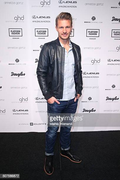 Michael Ratajczak attends the Annette Goertz show during Platform Fashion January 2016 at Areal Boehler on January 30 2016 in Duesseldorf Germany