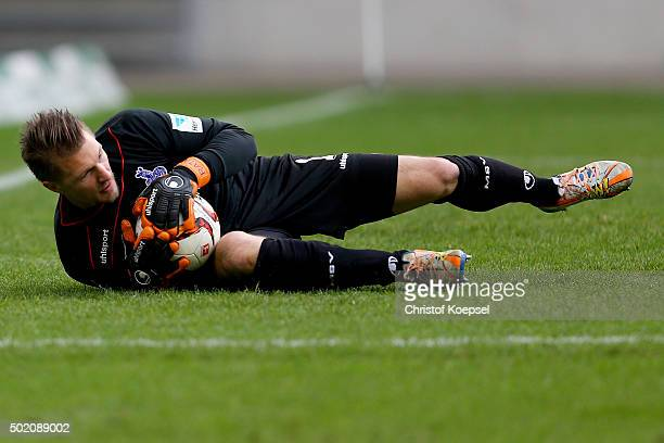 Michael Ratajczak of Duisburg holds the ball during the Second Bundesliga match between MSV Duisburg and VfL Bochum at SchauinslandReisenArena on...