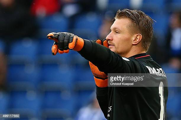 Michael Ratajczak of Duisburg issues instructions during the 2 Bundesliga match between MSV Duisburg and SV Sandhausen at SchauinslandReisenArena on...