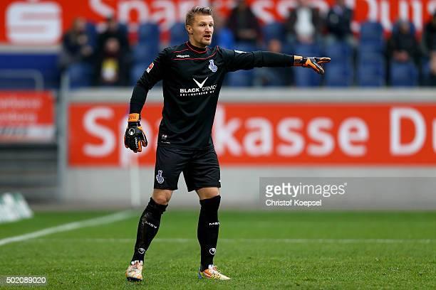 Michael Ratajczak of Duisburg issues instructions during the Second Bundesliga match between MSV Duisburg and VfL Bochum at SchauinslandReisenArena...
