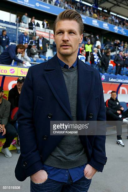 Michael Ratajczak of Duisburg looks on prior to the Second Bundesliga match between MSV Duisburg and RB Leipzig at SchauinslandReisenArena on May 15...
