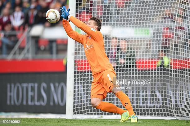Michael Ratajczak of Duisburg parries during the Second Bundesliga match between 1 FC Nuernberg and MSV Duisburg at Grundig Stadion on April 10 2016...