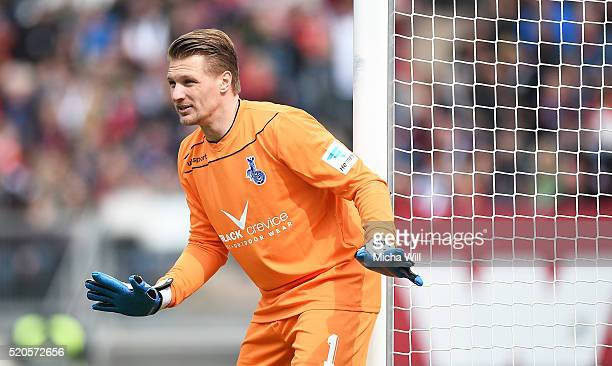 Michael Ratajczak of Duisburg reacts during the Second Bundesliga match between 1 FC Nuernberg and MSV Duisburg at Grundig Stadion on April 10 2016...