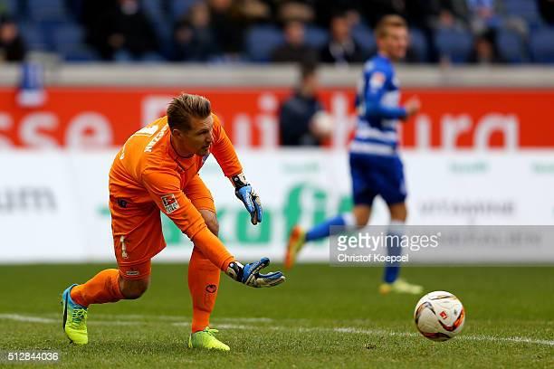 Michael Ratajczak of Duisburg throws the ball during the 2 Bundesliga match between MSV Duisburg and FC St Pauli at SchauinslandReisenArena on...