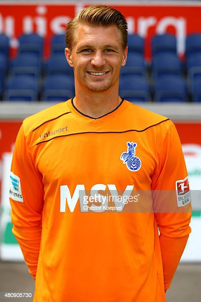 Michael Ratajczak poses during the team presenattion of MSV Duisburg at SchauinslandReisenArena on July 16 2015 in Duisburg Germany