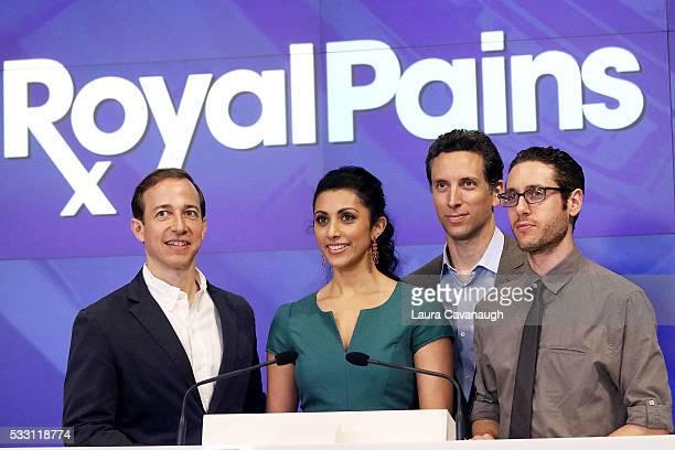 Michael Rauch Reshma Shetty Ben Shenkman and Paulo Costanzo of USA Network's 'Royal Pains' ring the NASDAQ Closing Bell at NASDAQ on May 20 2016 in...