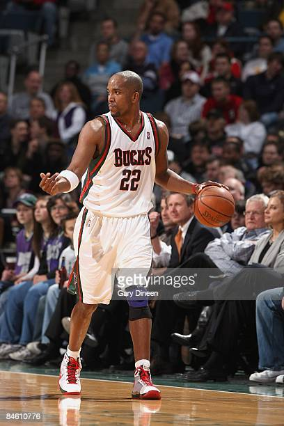Michael Redd of the Milwaukee Bucks moves the ball against the Toronto Raptors during the game on January 5 2009 at the Bradley Center in Milwaukee...