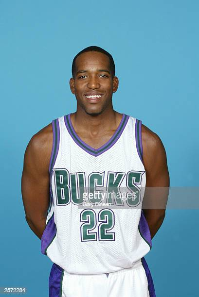Michael Redd of the Milwaukee Bucks poses for a portrait during NBA Media Day at the Bucks Practice Facility on October 2 2003 in Milwaukee Wisconsin...