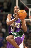 Michael Redd of the Milwaukee Bucks shoots against the Detroit Pistons during game two of round one of the 2004 NBA Eastern Conference playoffs on...