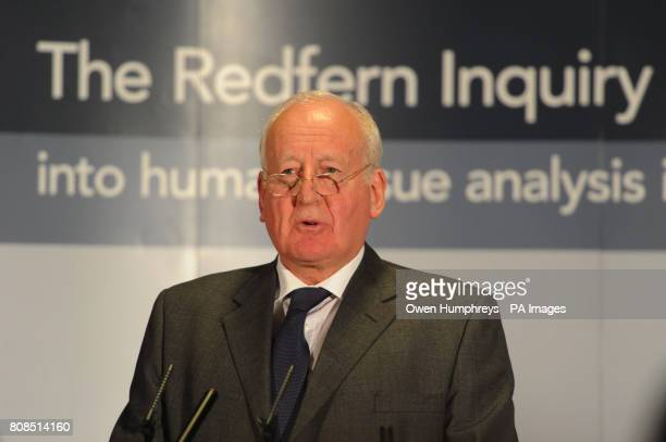 Michael Redfern QC holds a press conference at the Armathwaite Hall Hotel near Keswick Cumbria after his report into the removal of body organs and...