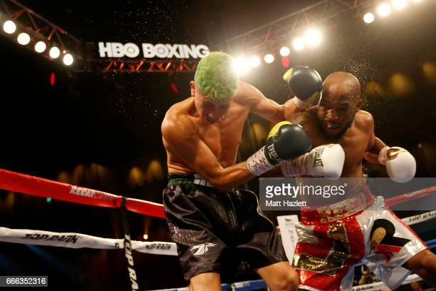 Michael Reed exchanges punches with Reyes Sanchez of Mexico during their Super Lightweight bout at The Theater at MGM National Harbor on April 8 2017...