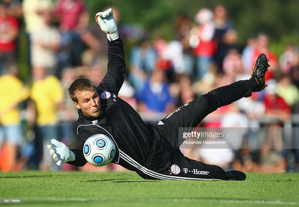 Michael Rensing of Bayern Muenchen challenge for the ball during a training session at the Anton Mall stadium at day three of the FC Bayern Muenchen training camp on July 20, 2009 in Donaueschingen, Germany.