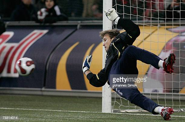 Michael Rensing of Bayern Munich saves a penalty during the Red Bulls Cup match between Red Bull Salzburg and Bayern Munich at the Bullen Arena on...