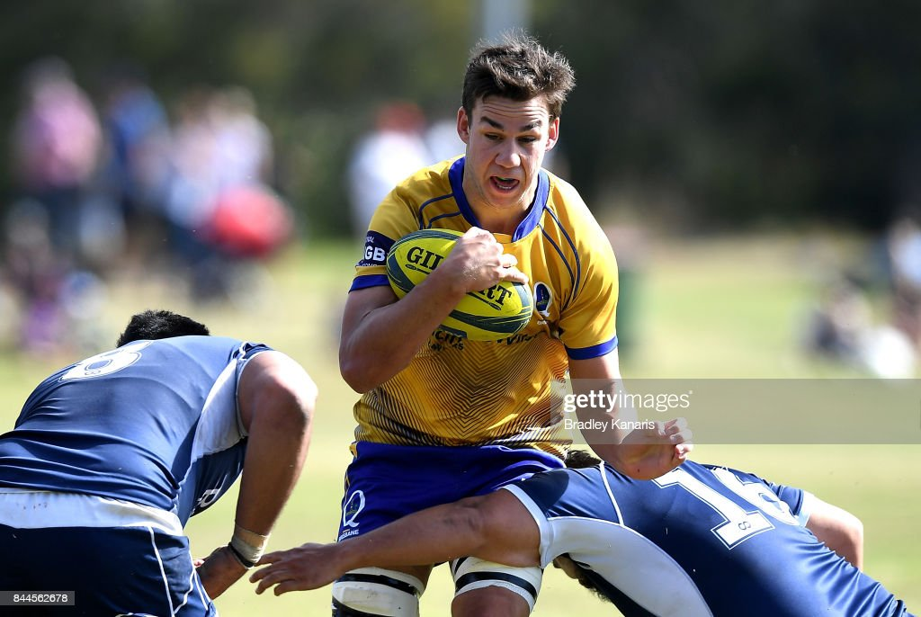 Michael Richards of Brisbane City takes on the defence during the round two NRC match between Queensland Country and Brisbane on September 9, 2017 in Noosa, Australia.