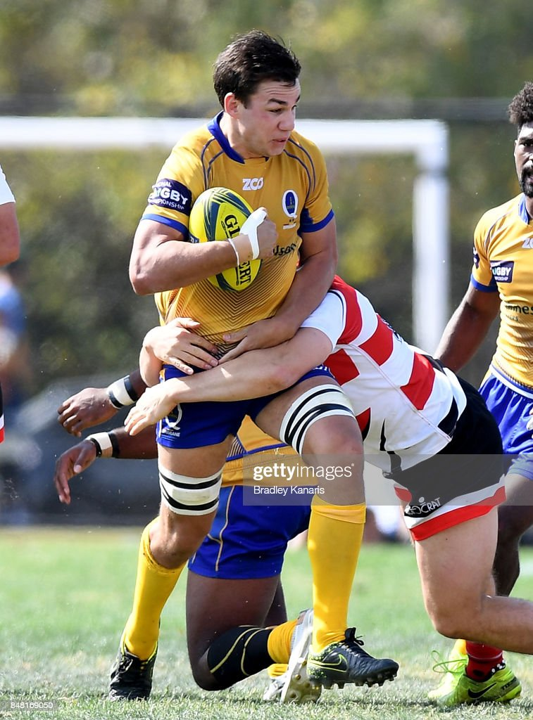 Michael Richards of Brisbane City takes on the defence during the round three NRC match between Brisbane and Canberra at the University of Queensland on September 17, 2017 in Brisbane, Australia.