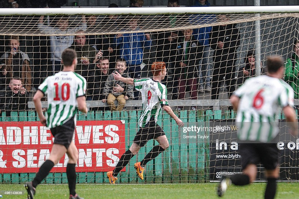 Michael Richardson of Blyth Spartans celebrates behind their goal after scoring the opening goal during The Northumberland Senior Cup match between Blyth Spartans and Newcastle United at Croft Park on November 7, 2015, in Blyth, England.