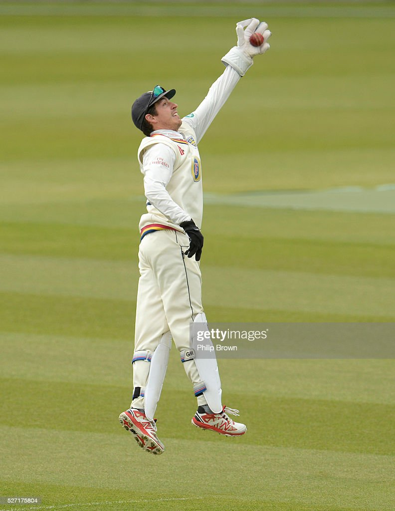 Michael Richardson of Durham catches a return during day two of the Specsavers County Championship Division One match between Surrey and Durham at the Kia Oval on May 2, 2016 in London, England.