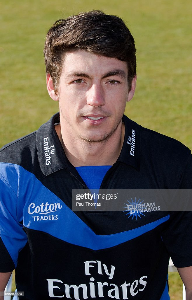 Michael Richardson of Durham CCC wears the FriendsLife T20 kit during a pre-season photocall at The Riverside on April 3, 2013 in Chester-le-Street, England.