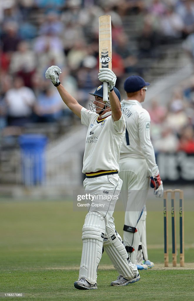 Michael Richardson of Durham celebrates reaching his century during the LV County Championship division one match between Yorkshire and Durham at North Marine Road on August 29, 2013 in Scarborough, England.