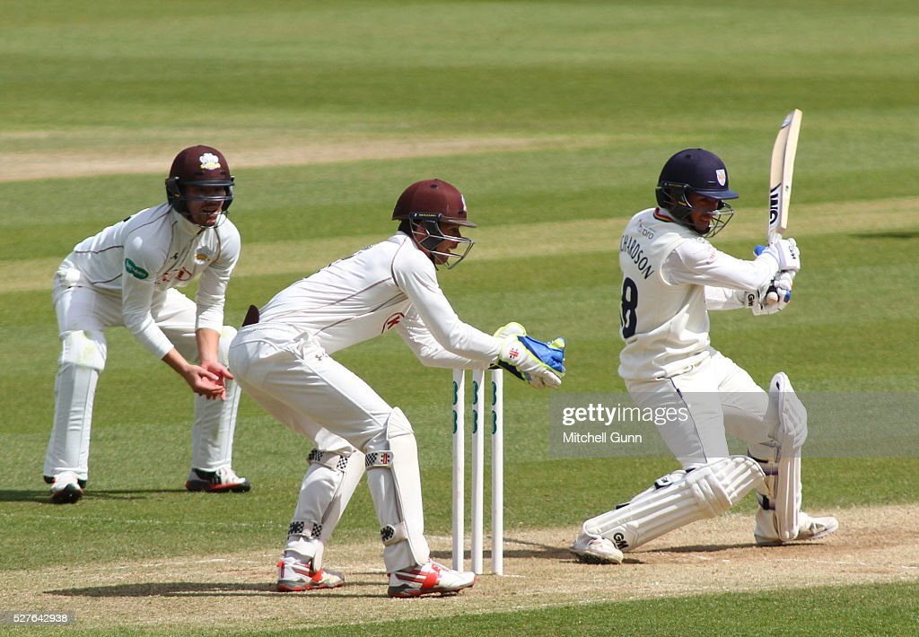 Michael Richardson of Durham plays a shot during the Specsavers County Championship Division One match between Surrey and Durham at the Kia Oval Cricket Ground, on May 03, 2016 in London, England.