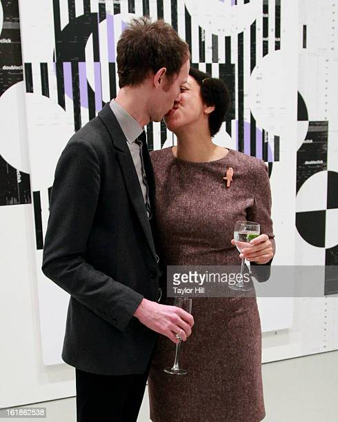Michael Riedel and wife Denise Mawila attend the Michael Riedel Art Exhibition Powerpoint at David Zwirner Gallery on February 16 2013 in New York...