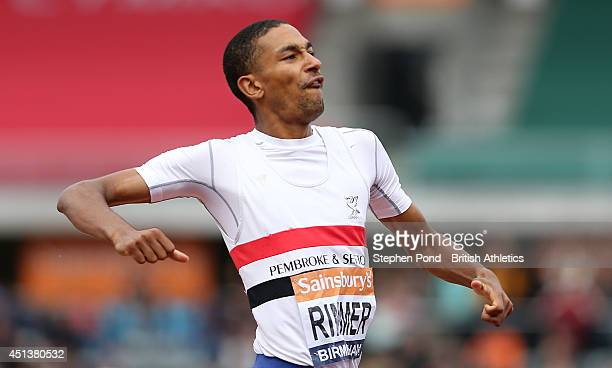 Michael Rimmer celebrates winning the final of the Men's 800m event during the Sainsbury's British Athletics Championships at Birmingham Alexander...