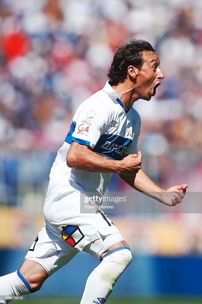 Michael Rios of U Catolica celebrates the first goal against U de Chile during a match between U Catolica and Universidad de Chile as a part of 13th round of Torneo Scotiabank Clausura 2015 at San Carlos de Apoquindo Stadium on April 05, 2015, in Santiago, Chile.