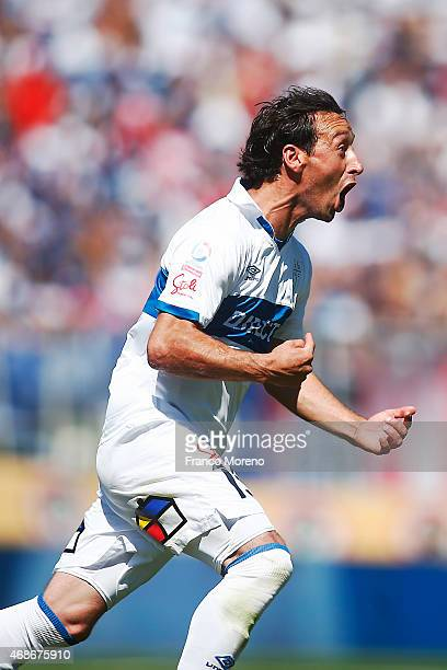 Michael Rios of U Catolica celebrates the first goal against U de Chile during a match between U Catolica and Universidad de Chile as a part of 13th...