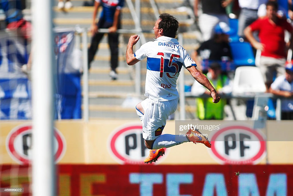 Michael Rios of U Catolica celebrates the second goal of his team against U de Chile during a match between U Catolica and Universidad de Chile as a part of 13th round of Torneo Scotiabank Clausura 2015 at San Carlos de Apoquindo Stadium on April 05, 2015, in Santiago, Chile.