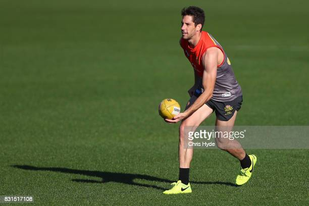 Michael Rischitelli handballs during a Gold Coast Suns AFL training session at Metricon Stadium on August 15 2017 in Gold Coast Australia