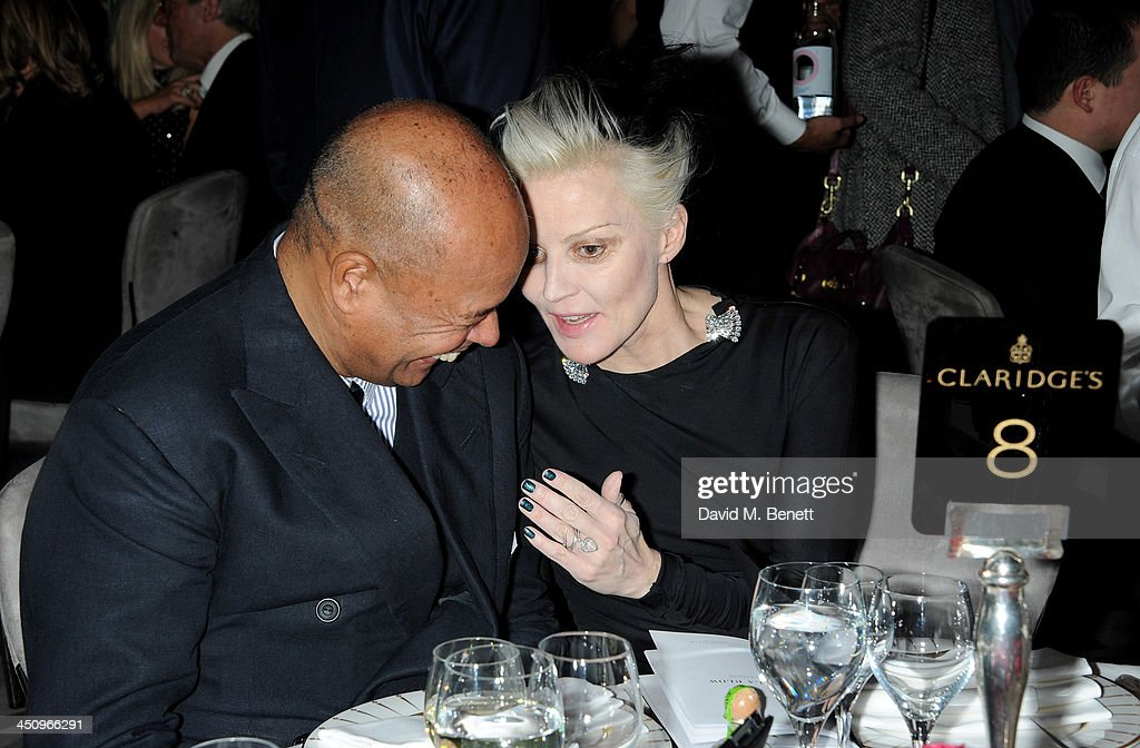 Michael Roberts (L) and <a gi-track='captionPersonalityLinkClicked' href=/galleries/search?phrase=Daphne+Guinness&family=editorial&specificpeople=213037 ng-click='$event.stopPropagation()'>Daphne Guinness</a> attend the Isabella Blow: Fashion Galore! charity dinner hosted by the Isabella Blow Foundation at Claridges Hotel on November 19, 2013 in London, England.