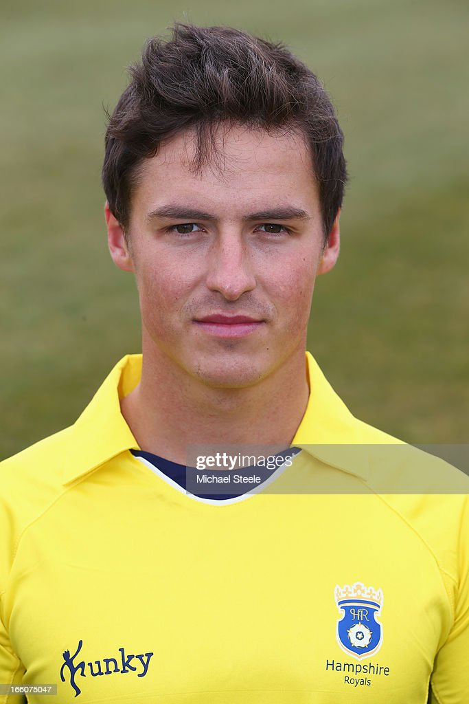 Michael Roberts of Hampshire wearing the Yorkshire Bank 40 Over kit during the Hampshire CCC photocall at The Ageus Bowl on April 8, 2013 in Southampton, England.